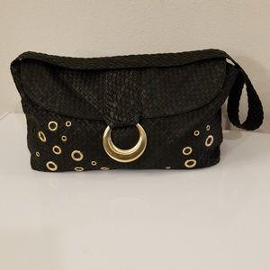 Elliott Lucca black leather basket weaved bag